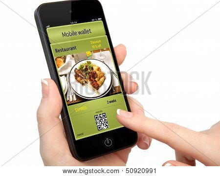 Isolated Woman Hand Holding The Phone With A Mobile Wallet And Ticket Discount In Restaurant