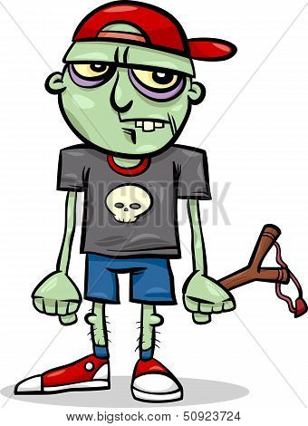 Halloween Zombie Kid Cartoon Illustration