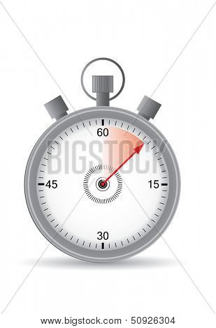 Vector stop watch with red time, illustration.
