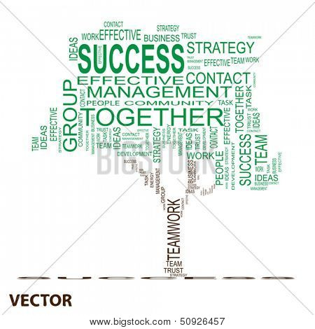 Vector conceptual green text word cloud or tagcloud isolated on white background ,metaphor for business,team,teamwork,management,effective,success,communication,company, cooperation,group or symbol
