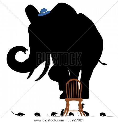 Editable vector silhouettes of a frightened elephant standing on a chair surrounded by rats