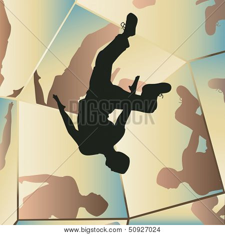 Editable vector illustration of a young man somersaulting with mirror reflections