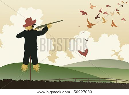 Editable vector illustration of a scarecrow shooting pigeons with a shotgun