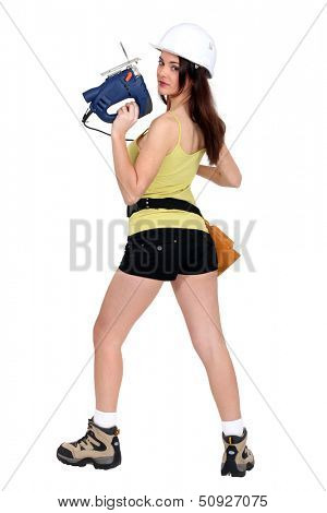 Woman holding band saw