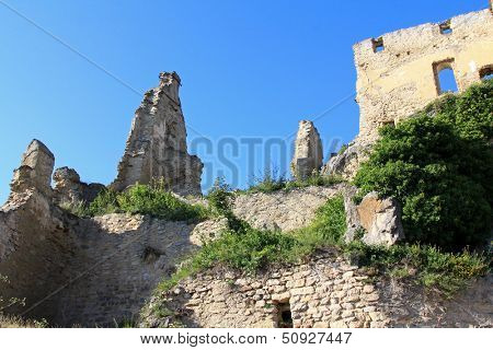 WACHAU, AUSTRIA - AUGUST, 2012 : Ruins of Durnstein Castle on the rocks on August 12, 2012. It was built in the 12th century. The English King, Richard the Lionheart was captured here in 1192.