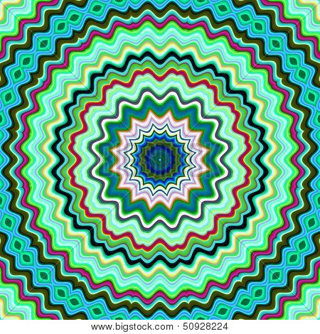 Green and blue colorful kaleidoscopic pattern.