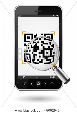 smartphone with QR code and magnifying glass icon