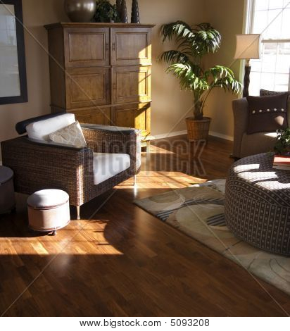 Stylish Designer Living Room With Hardwood Flooring