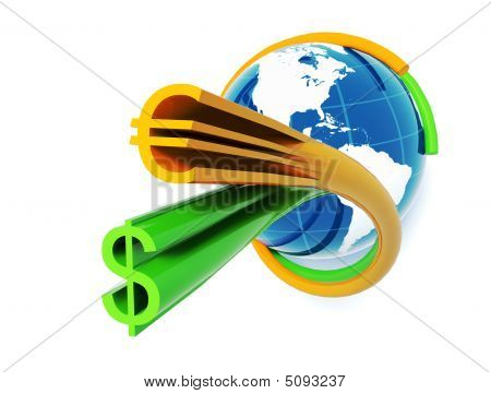 Blue Globe With Dollar Euro Colored Stripes Horizontal