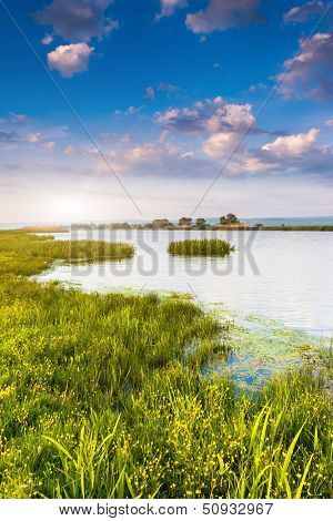 Beautiful view of sinuous river in summer. Southern Buh River, Ukraine, Europe. Beauty world.