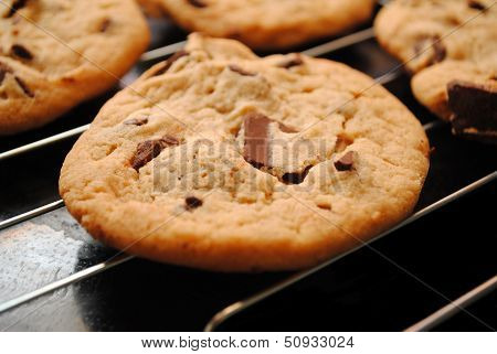 Chocolate Chunk Cookies Cooling on a Rack