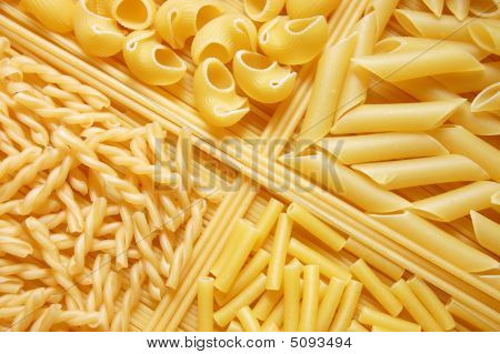 Four Different Kinds Of Italian Pasta. Food Background.