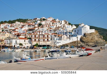 SKOPELOS, GREECE - JUNE 24: Boats moored in the harbour at Skopelos Town on June 24, 2013 on Skopelos island, Greece. The island was the main location for the hit 2008 film Mamma Mia.