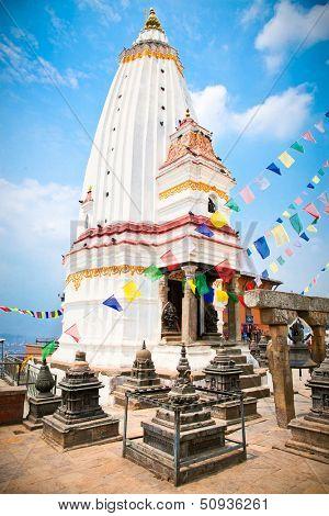 White stupa in Swayambhunath  Monkey temple in Kathmandu, Nepal.