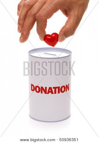 donation box with heart concept for charity or organ donation