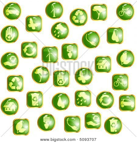 Green And Gold High-gloss Eco Buttons