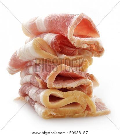 Stack Of Smoked Sliced Bacon On White Background