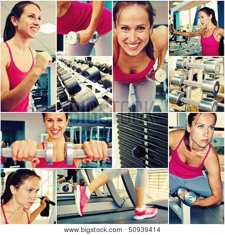 collage of young woman in gym class