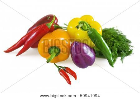 fresh juicy vegetables on white background