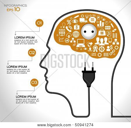 Template infographic. Concept of modern business. Human head with the brain, business icons, plug,  socket, File stored in version AI10 EPS. This image contains transparency.