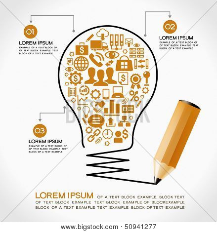 Template infographic. Business strategy plan concept idea, Light bulb with icons modern business and pencil.  File stored in version AI10 EPS. This image contains transparency.