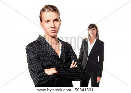 two women career, portrait in studio