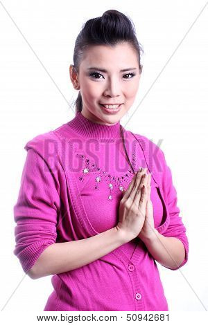 Thai woman welcome expression Sawasdee