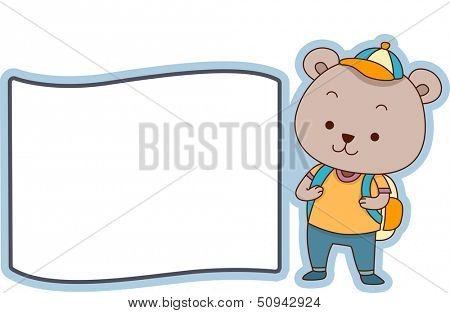 Illustration Featuring a Ready to Print Label with a Bear on the Side