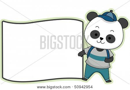 Illustration Featuring a Ready to Print Label with a Panda on the Side