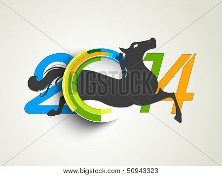 Happy New Year 2014 colorful celebration concept with Chinese symbol of the year Horse.