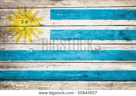 uruguayan flag on wood texture background