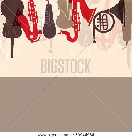 Musical concept with musical instruments,  can be use as poster, banner for flyer for music concerts and parties.