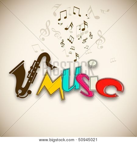 Colorful Musical background with musical notes and saxophone,  can be use as poster, banner for flyer for music concerts and parties.