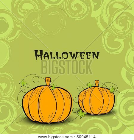 Happy Halloween poster, banner or flyer with pumpkins on floral decorated background.