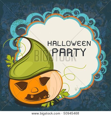 Halloween party concept with pumpkin on floral decorative background.