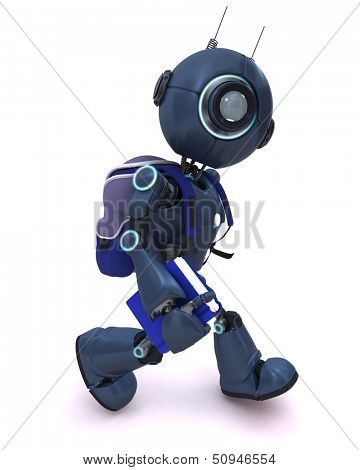 3D Render of an Android with school bag