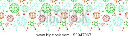 Colorful molecules horizontal seamless pattern background
