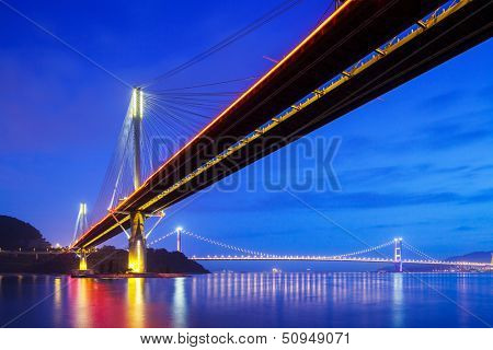 Suspension bridge in Hong Kong at night