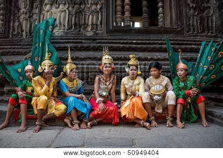 Siem Reap, Cambodia - February 27: Unidentified Traditional Khmer Cambodian Dancers Perform Ramayana