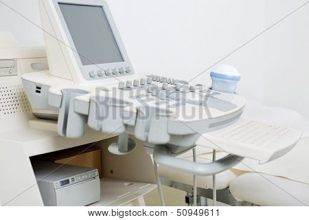 Closeup of ultrasound machine in clinic