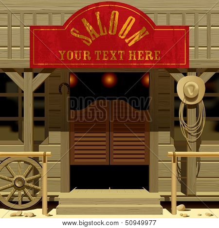 Vector image of the door of the Saloon in Wild West with a red signboard