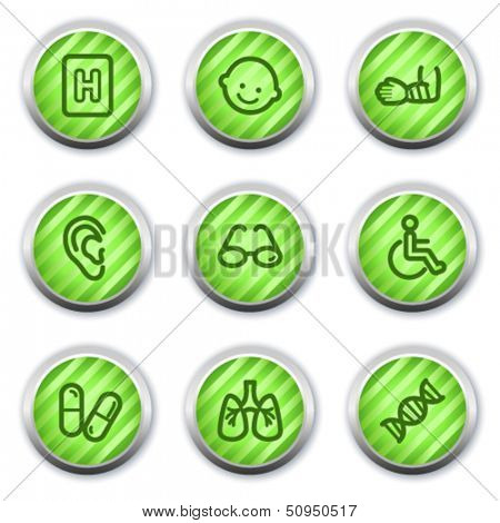 Medicine web icons set 2, green glossy circle buttons