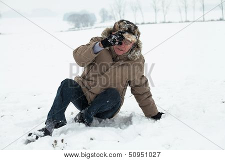 Senior Man Winter Accident