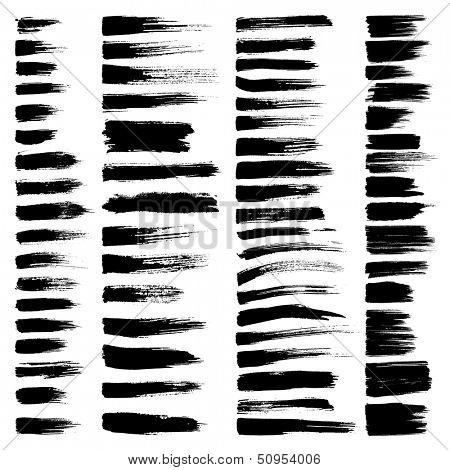 Vector conjunto de trazos de pincel acuarela grunge.  Colección negro de pintura al óleo vector negro cepillo str