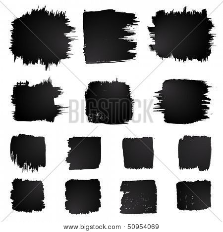 Vector set of grunge squared watercolor brush strokes.  Black collection of black vector oil paint brush strokes isolated on white background. Square paint brush strokes.