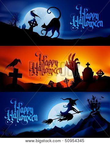 Three scary vector halloween banners - replace text with your own