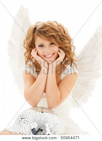 holidays and costumes concept - happy teenage angel girl with disco ball