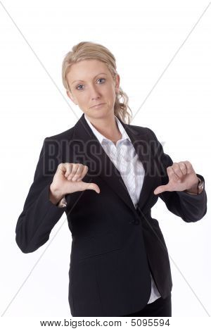 Businesswoman With Thumbs Down