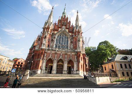 KRAKOW, POLAND - SEP 4: Church St. Joseph a historic Roman Catholic church in south-central part of Krakow, Sep 4, 2013 in Krakow, Poland. Was built 1905 -1909 y and designed by Jana Sas-Zubrzyckiego.