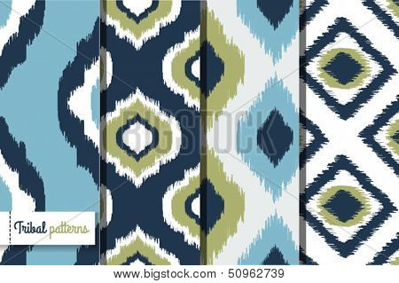 Retro ikat tribal seamless patterns, fashion design, illustration for web design or home decor